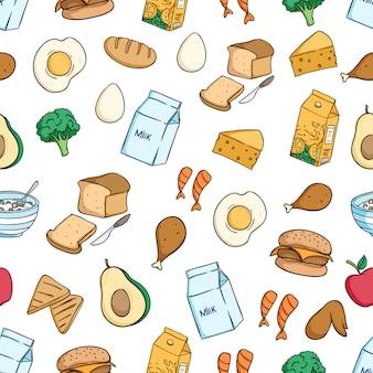 Gezond ontbijt eten naadloze patroon met gekleurde doodle stijl
