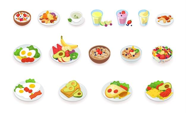 Gezond ontbijt eten pictogrammen collectie. muesli, ontbijtgranen, fruit en bessen, noten, eieren, omelet, avocado, smoothie, drankjes, sandwich. vector illustratie instellen.