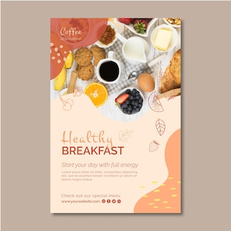 Gezond ontbijt flyer sjabloon