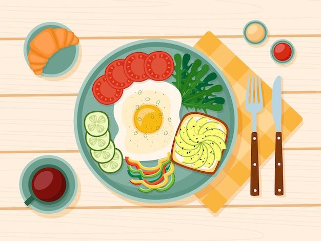 Gezond ontbijt, gebakken ei, greens, groenten, toast met avocado, koffie, croissant, vectorillustratie