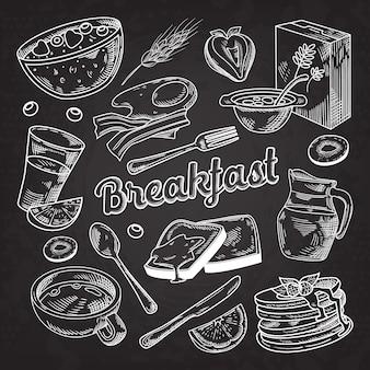 Gezond ontbijt hand getrokken