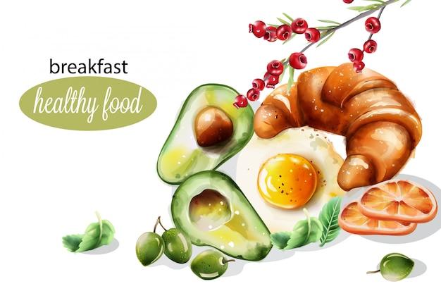 Gezond ontbijt met avocado en gebakken ei
