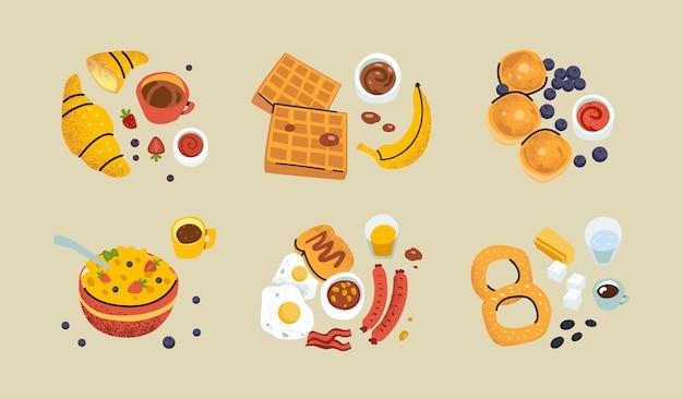 Gezond ontbijt. ontbijten van verschillende regio's en landen eten en drinken. hand getrokken pictogrammen en logo's.