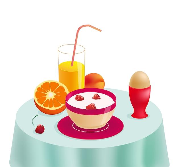 Gezond ontbijt op tafel. eco-eten. illustratie