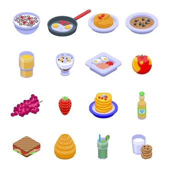 Gezond ontbijt pictogrammen instellen. isometrische reeks gezonde ontbijtpictogrammen voor web dat op witte achtergrond wordt geïsoleerd