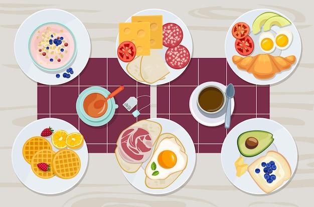 Gezond ontbijt. voedsel dagelijks menu kaas koekjes melksap eieren botermaaltijd cartoon producten collectie. ontbijtsandwich, kaas en boter, brood en maaltijdillustratie