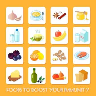 Gezond voedsel dat uw immuniteitspictogrammen vlakke reeks geïsoleerde vectorillustratie opvoert