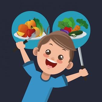 Gezond voedsel gerelateerde pictogrammen afbeelding
