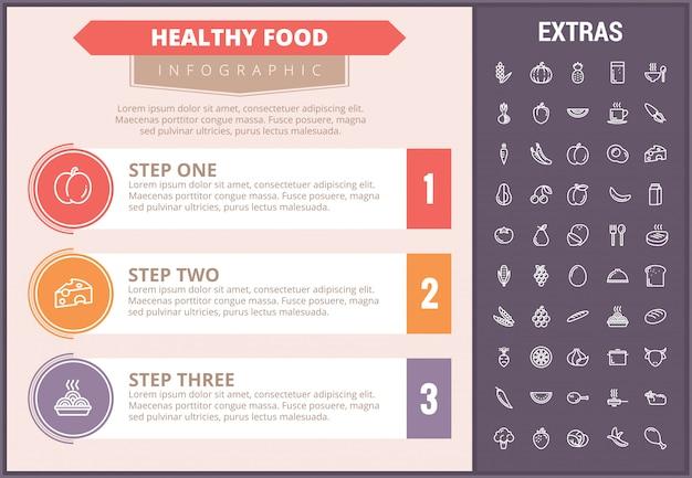 Gezond voedsel infographic sjabloon, elementen, pictogrammen