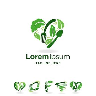 Gezond voedsel logo set met meerdere concepten