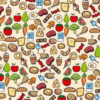Gezond voedsel over crème achtergrond vectorillustratie