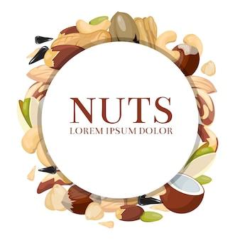 Gezond voedsel vectorconcept met verschillende noten. ronde banner met noten en illustratie ruwe zaad een