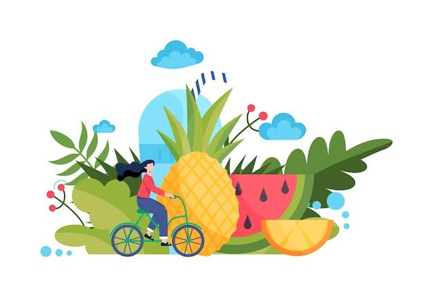 Gezond voedselconcept. idee van biologisch menu en natuurlijke voeding. meisje rijdt op een fiets. lichaam en gezondheidszorg. gezond leven concept. stijl