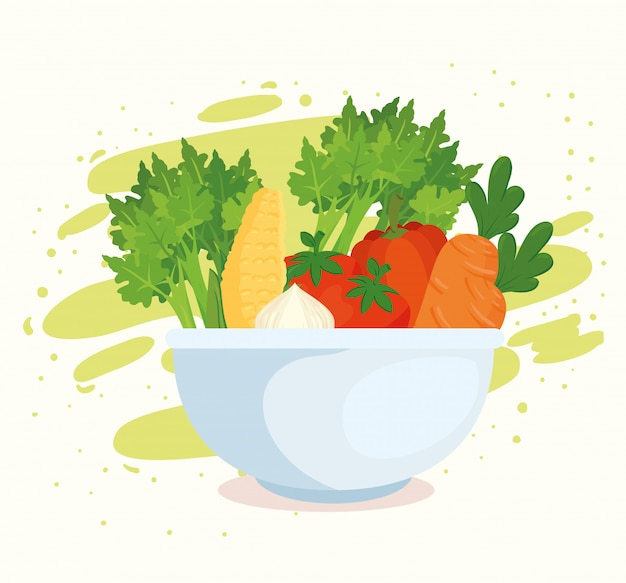Gezond voedselconcept, verse groenten in kom