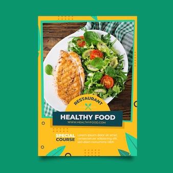 Gezond voedselrestaurant postertemplate met foto