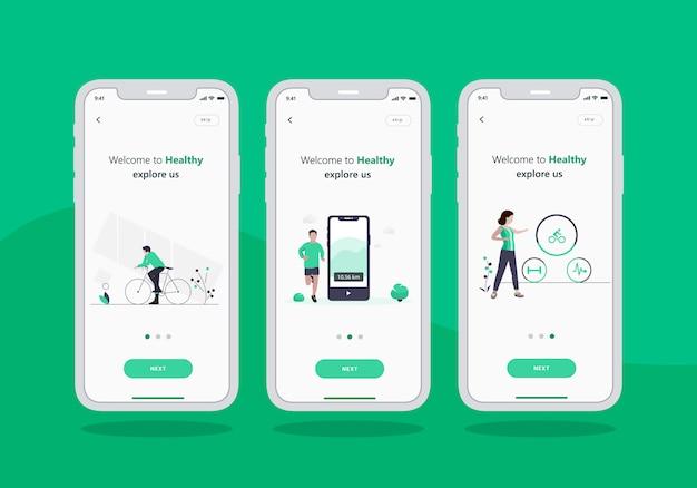 Gezonde app set van onboarding scherm mobiele ui ontwerp