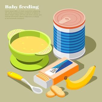 Gezonde babyvoeding isometrische samenstelling met melkpoeder koekjes banaan puree kom baby lepel illustratie