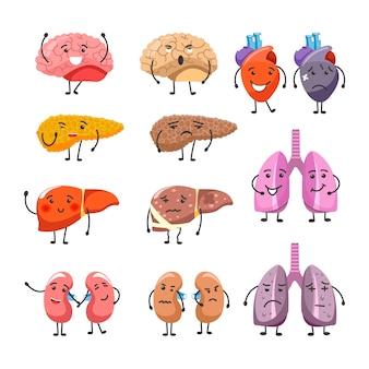 Gezonde en dikke organen met gezichten en ledematen