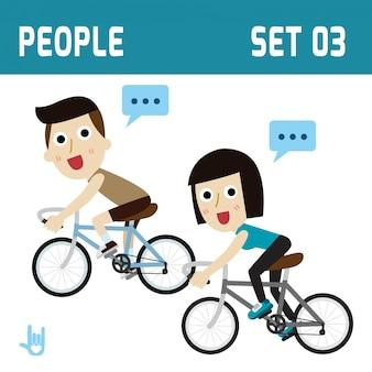Gezonde en gelukkige fietser paar paardrijden gezondheidszorg concept platte ontwerp illustratie