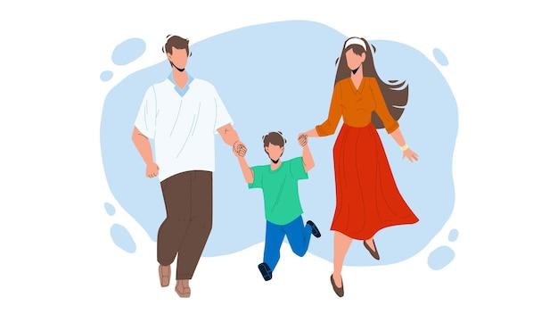 Gezonde familie wandelen samen buiten vector. vader, moeder en zoon gezonde familie lopen samen in het park. personages man, vrouw en kind hebben grappige vrije tijd platte cartoon afbeelding