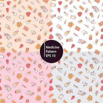 Gezonde geneeskunde pictogrammen naadloze patroon achtergrond