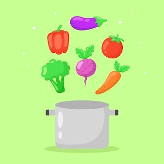 Gezonde groenten vliegen uit pan hand getekende illustratie.