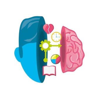 Gezonde hersenen met tandwielen verwerken het werk