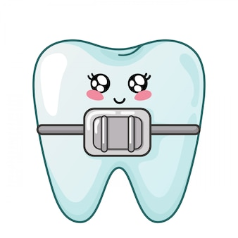Gezonde kawaiitand met het tandkarakter van tandsteunen