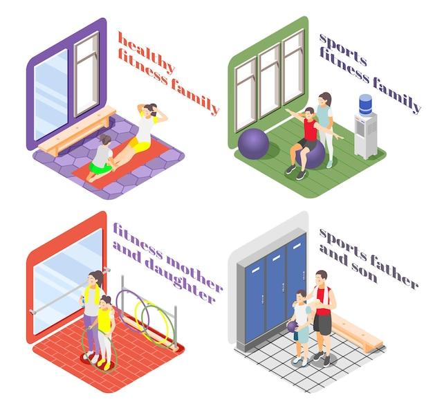 Gezonde levensstijl 2x2 ontwerpconcept met familieleden die zich bezighouden met fitness en sport isometrische illustratie