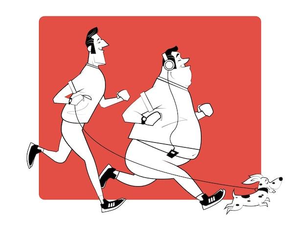 Gezonde levensstijl, actief leven, sport. twee lachende hardlopers en een kleine hond. ochtendloop in park. retro illustratie in schetsstijl.
