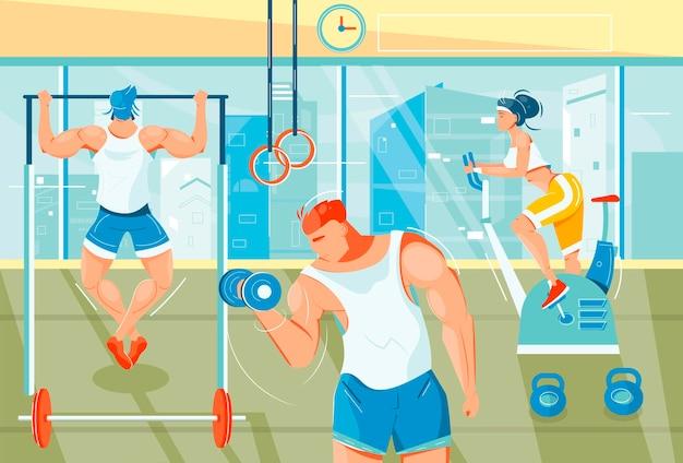 Gezonde levensstijl en sportschool met platte symbolen voor gewichtheffen