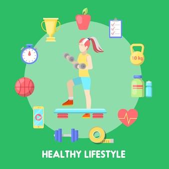 Gezonde levensstijl fitness icon set met fit vrouw.