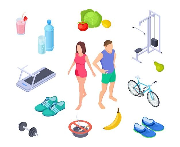Gezonde levensstijl. goede gewoonten sportactiviteit. regelmatige oefeningen, dieetvoeding. isometrische man vrouw boerderij voedsel schoenen