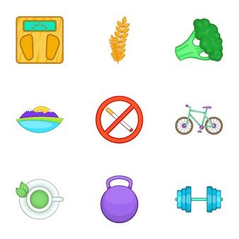 Gezonde levensstijl iconen set, cartoon stijl
