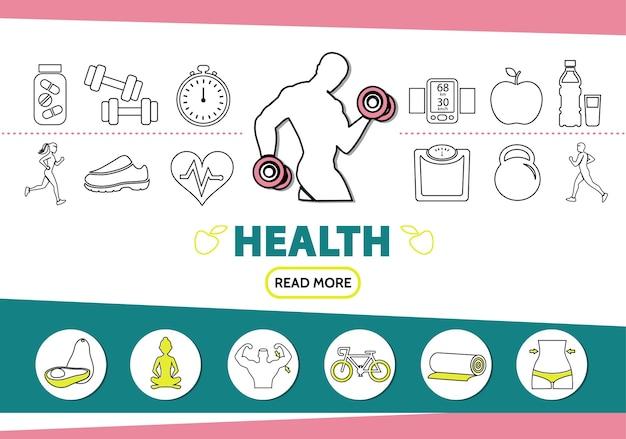 Gezonde levensstijl lijn pictogrammen instellen met sterke man vitamines sportuitrusting schaal mobiele vruchten yoga