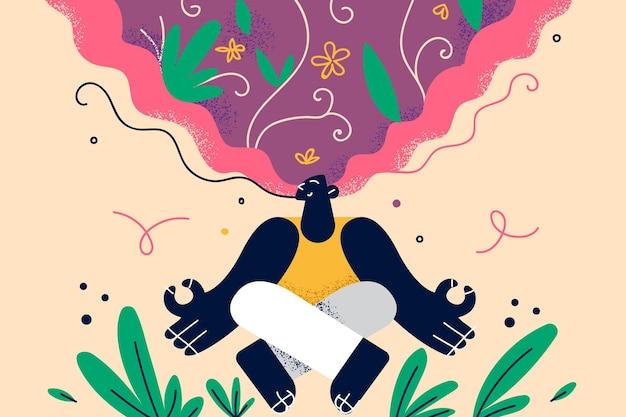 Gezonde levensstijl meditatie positieve gedachten illustratie Premium Vector