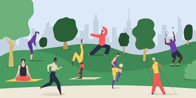 Gezonde levensstijl parksamenstelling met stadsgezicht en platte doodle-stijlkarakters van mensen die oefeningen buitenshuis doen,