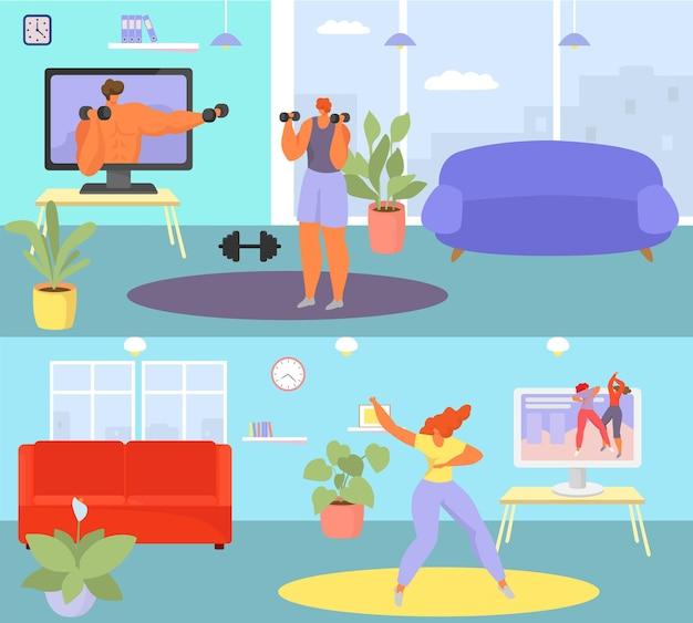 Gezonde levensstijl thuis workout online sport video blog tutorial mensen karakter samen fysiek en...