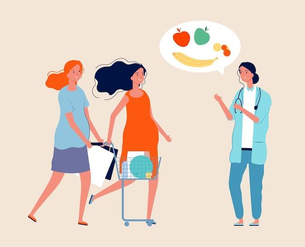 Gezonde levensstijl. voedingsdeskundige, zwangere vrouwen met eten. aanstaande moeders met winkelen.
