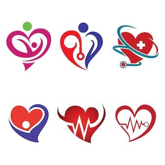 Gezonde liefde hart heartbeat symbool met stethoscoop