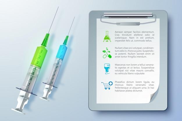 Gezonde medische apparatuur sjabloon met spuiten en klembord in realistische stijl illustratie