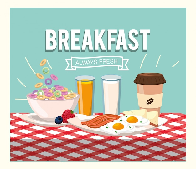 Gezonde ontbijtgranen met spek en gebakken eieren