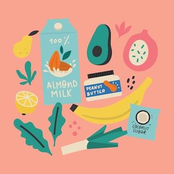 Gezonde, schone / veganistische voedselcollectie. planten eten, groenten en fruit. laagstaand concept.