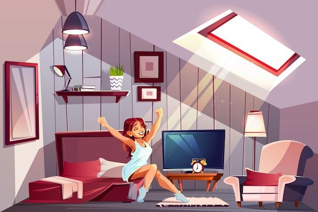 Gezonde slaap cartoon concept met gelukkig lachende vrouw in nachtjapon