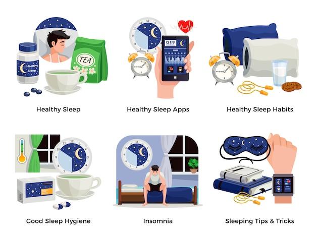 Gezonde slaap en slapeloosheid composities set van gewoonten apps tips trucs goede hygiëne geïsoleerde illustratie