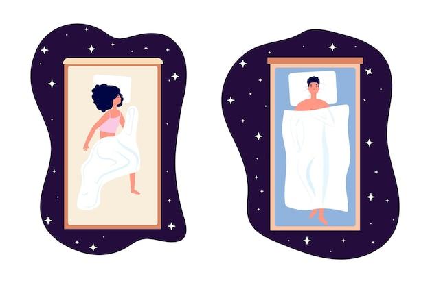 Gezonde slaap. vrouw man bedtijd, meisje op comfort bed illustratie. mensen dromen, zoete dromen in nacht sterrenhemel vectorillustratie. gezond slapen, man en vrouw dromen in bed