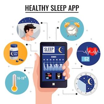 Gezonde slaapappsamenstelling met grafiek van slaapstadia op het scherm van smartphone in menselijke hand