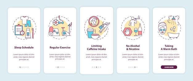 Gezonde slaaphygiëne onboarding mobiele app-paginascherm met concepten