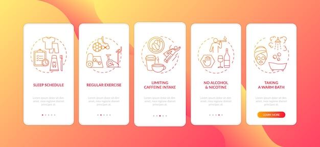 Gezonde slaaphygiëne rode gradiënt onboarding mobiele app-paginascherm met concepten
