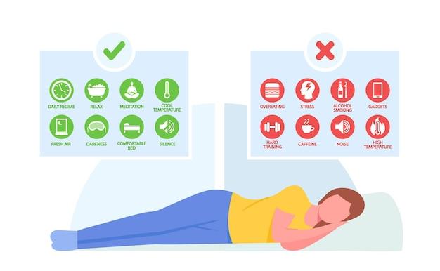 Gezonde slaapregels, good night habits concept. vreedzaam slapend vrouwelijk karakter en infographicsregels voor bedtijd